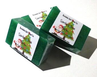 Santa's Tree Farm MINI GUEST Size Vegan Glycerin Handmade Soap Bar - Evergreen, Pine, Fresh Snow, Christmas Tree Scent