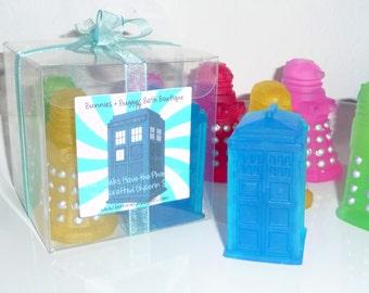 DOCTOR WHO Soap 4 Pc TARDIS and Daleks Soap Handmade Glycerin Dr Who Soap Bars