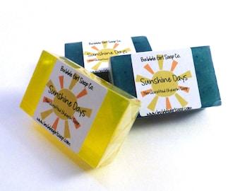 Sunshine Days MINI GUEST Size Vegan Glycerin Soap Bar - (Forever Sunshine Type) Apricot, Peony, Praline