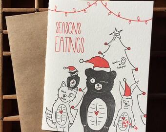 letterpress season's eatings zombie card