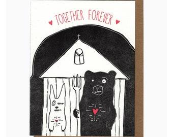 letterpress zombie together forever card