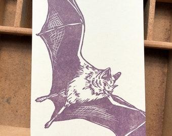 letterpress Brown Bat jotter notepad