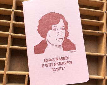 letterpress Alice Paul handmade notebook