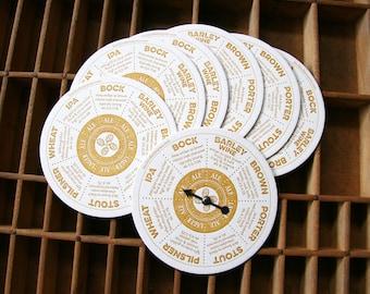letterpress beer coasters spinner