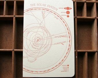 letterpress notebook Solar System recycled