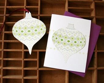 letterpress ornament card holiday diamond pattern