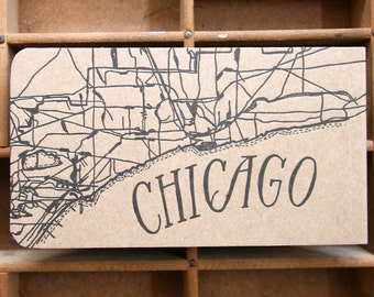 letterpress Chicago map notepad