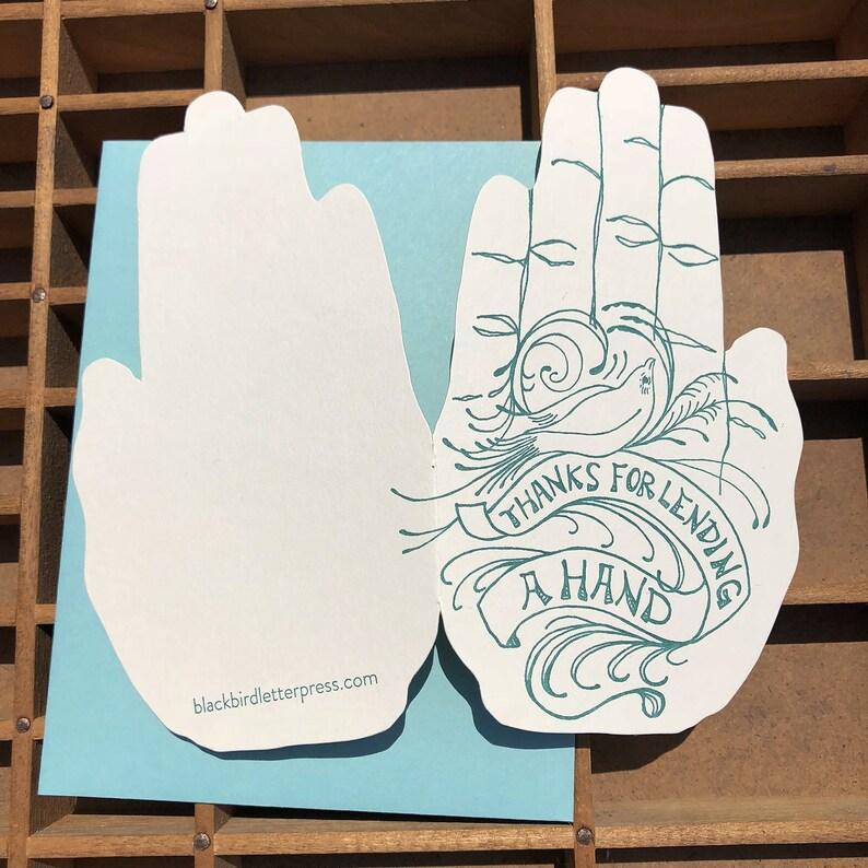 letterpress thanks for lending a card