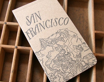 letterpress San Francisco map notepad