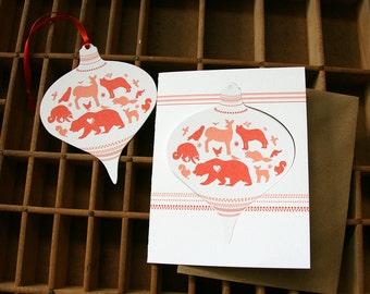 letterpress ornament card animals pop out