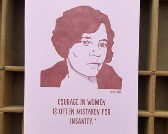 stampa tipografica a mano notebook Alice Paul