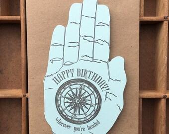 letterpress happy birthday hand card