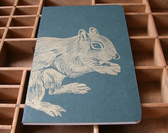 letterpress squirrel notebook linocut illustration