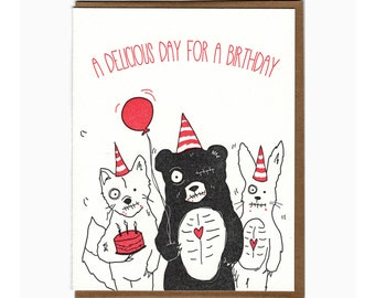 letterpress zombie birthday card