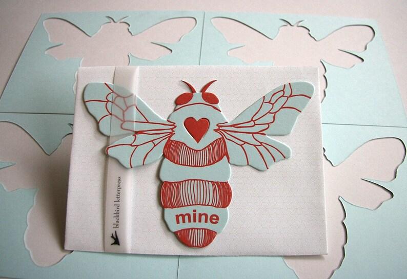 letterpress Bee Mine card die cut image 0