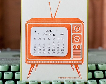 letterpress TV mini calendar 2018