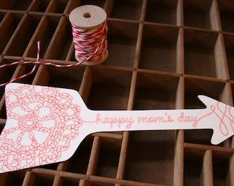 letterpress mother's day crochet arrow card