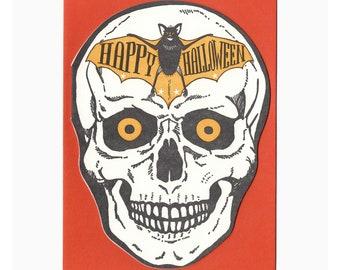 letterpress happy halloween skull card