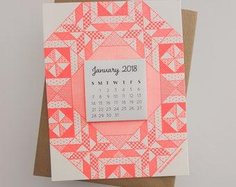 letterpress quilt mini calendar 2018