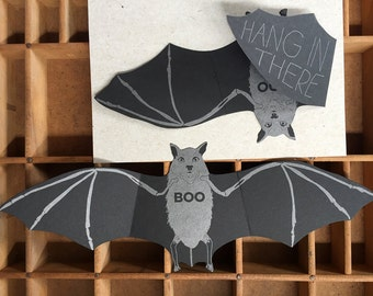 letterpress bat hang in there card