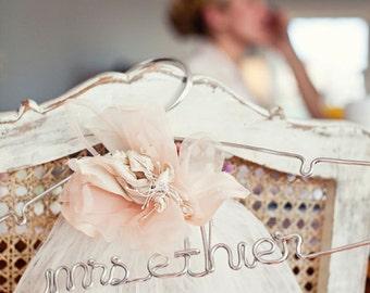 Wedding Hanger, Bridal Hanger, Personalized Hanger, The Original Silver Lingerie, Custom Wedding Dress Hanger in Wire