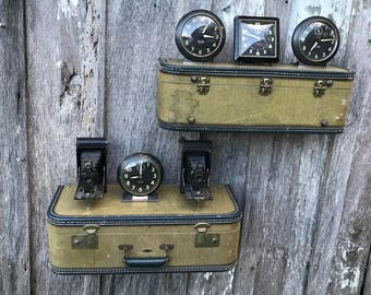 Pair of Wall Shelves Made from a Vintage Tan Brown Tweed Suitcase Luggage Shelf Repurposed Travel Inspired