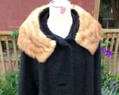 Vintage Ladies 39 Black Persian Lambs Wool Coat with Brown Fur Trim
