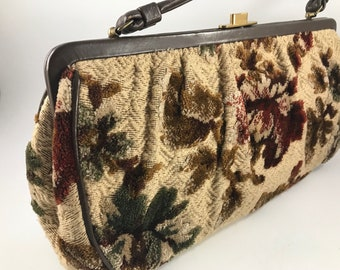 7b4caed2f85 Vintage Brown and Tan Floral Tapestry Upholstery Fabric Type Ladies  Purse  or Handbag