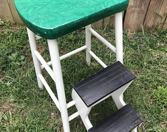 Vintage Farmhouse Wooden Kitchen Stool With Pull Out Steps Green Vinyl  Covered Seat