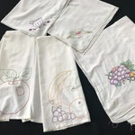 Lot of 5 Vintage White Kitchen Towels with Hand Embroidery Fruit and Kitchen Items