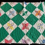 Vintage Hand Quilted Kelly Green & White Four Pointed Star Cutter Quilt Piece