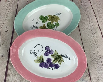 Pair of Vintage Corona Hand Painted Fruit Ironstone Wear China Small Platters
