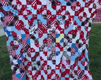 Tie quilt etsy vintage machine pieced flannel fabric bow tie pattern quilt top ccuart Image collections