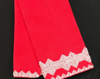 Vintage Red and White Huck KItchen Towel/Dish Towel