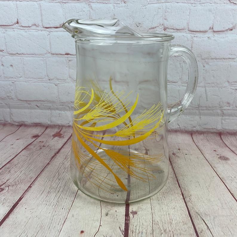 Vintage Homer Laughlin Golden Wheat Design Large Glass Pitcher