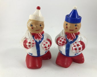 Pair of Vintage Christmas/Holiday Plastic Clowns Candy Containers