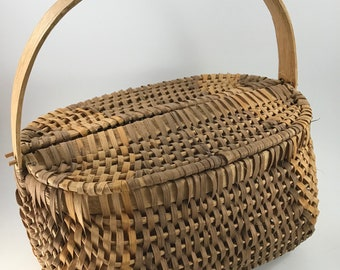 Vintage Small Brown Basket Weave Sewing Basket with Wooden Handle