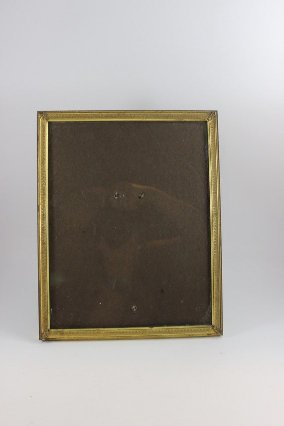 Vintage Gold Metal 8 X 10 Picture Frame With Glass And Stand Etsy