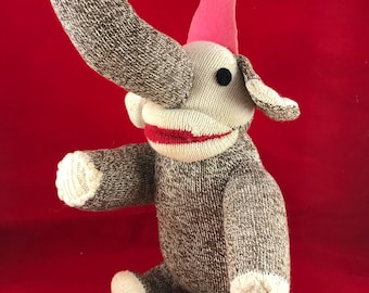 Vintage Brown, Off White and Red Sock Elephant