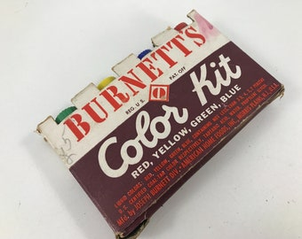 Box of Vintage Burnett's Color Kit Food Coloring Kit with Glass Bottles