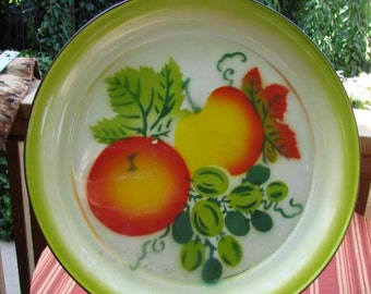 Vintage Large Colorful Granite Round Platter with Fruit Design