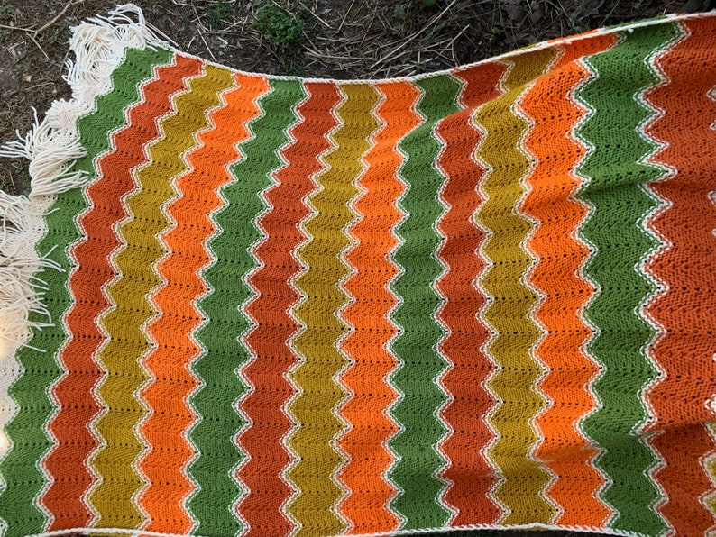 Butterscotch and Off White Wider Chevron Afghan with Fringe Vintage Hand Crochet Orange Green