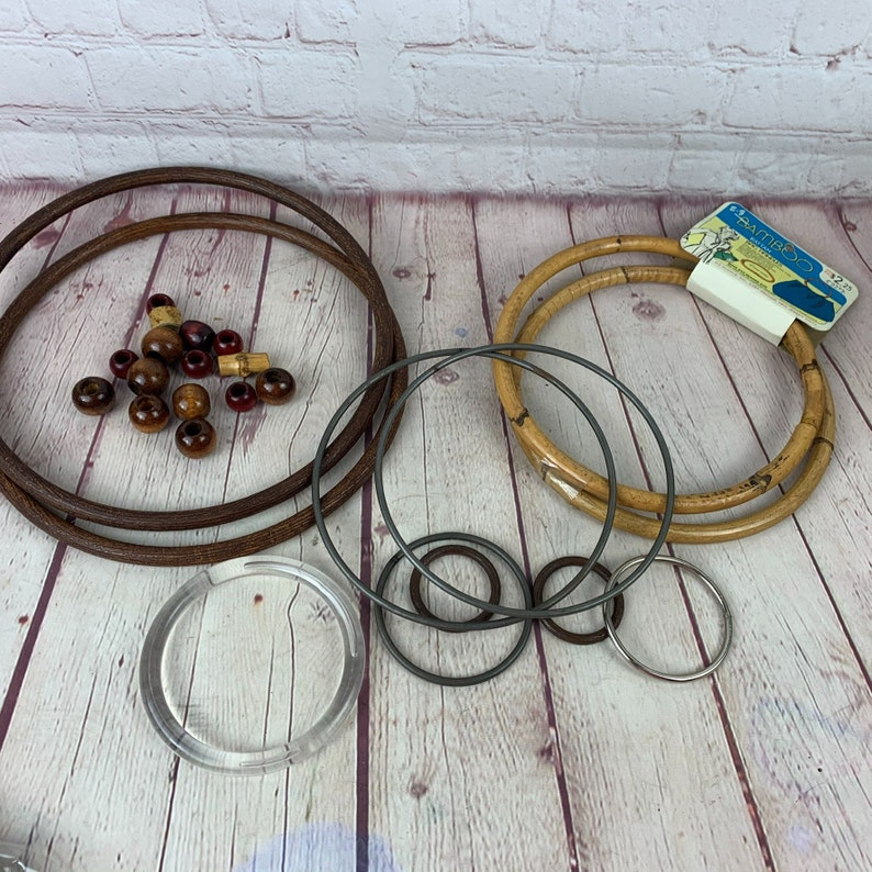 Lot of Vintage 1970\u2019s Era PurseBag Handles Beads and Parts