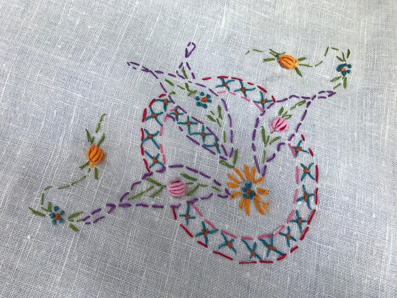Vintage White with Hand Embroidery Luncheon Cloth or Tablecloth