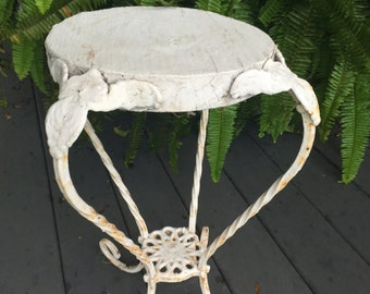 Vintage Antique Old Crusty Chippy Wood and Iron Painted Plant Stand or Small Table