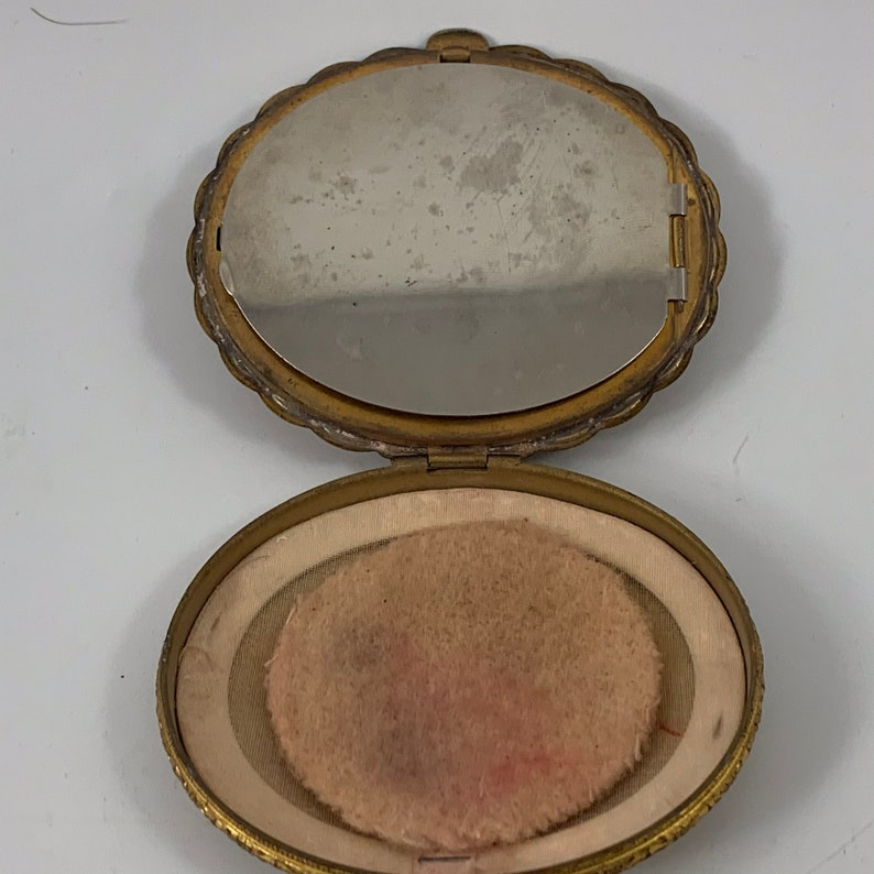 Vintage Enamel and Goldtone Compact for Rouge or Powder Monogrammed \u201cGEW\u201d