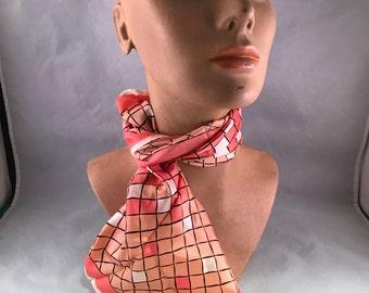 Vintage 100% Acetate Pink, Cream and Black Lattice Work Ladies' Scarf