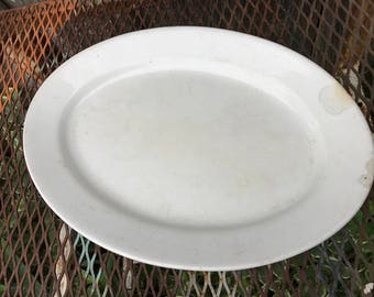 Vintage Alfred Meakin England White Ironstone China Oval Platter