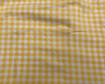 2 Yards of Vintage Yellow and White Gingham Check Cotton Fabric