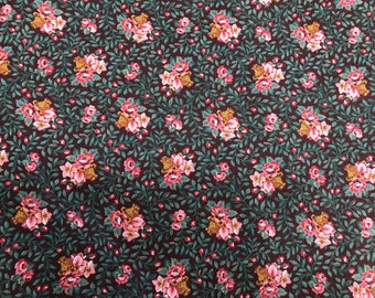 1 Yard of Vintage VIP Cranston Print Works Pink Roses and Green Leaves Cotton Fabric